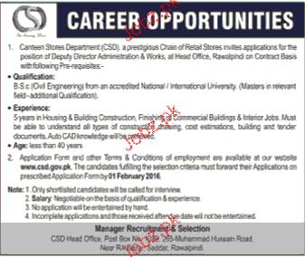 Deputy Director Administration Job in CSD