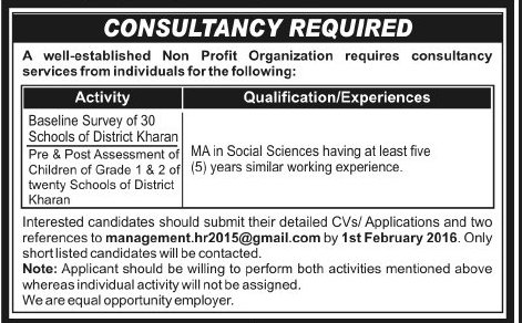 Consultant Jobs for NGO