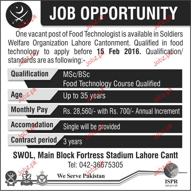 Food Technologists Job in Pakistan Army 2019 Job Advertisement Pakistan