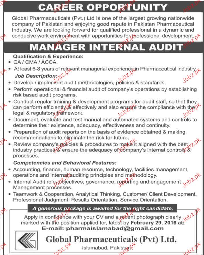 Manager Internal Audit Job Opportunity