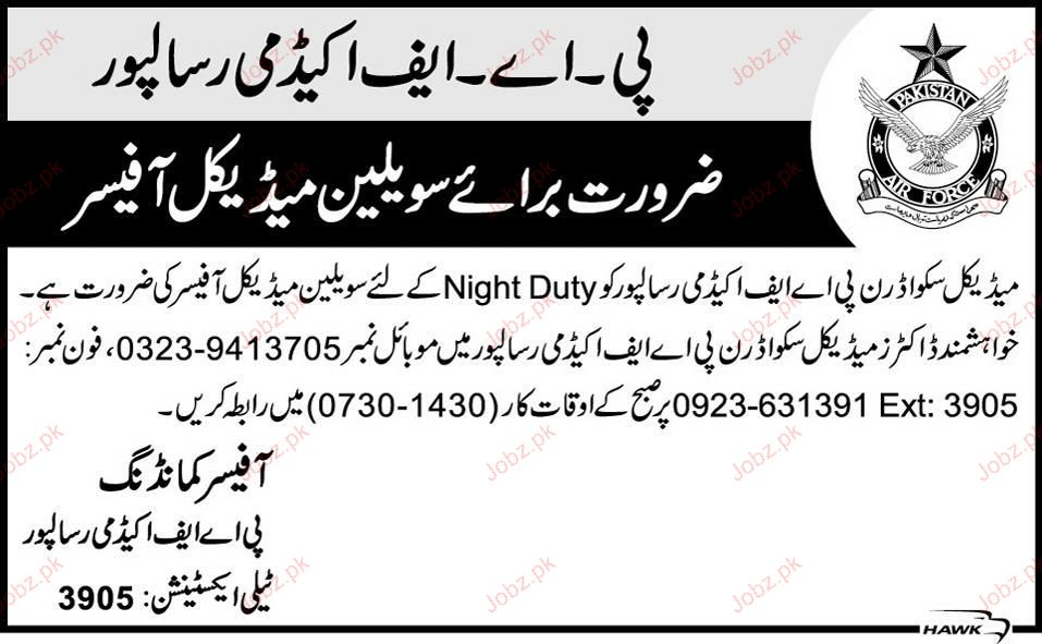 Medical Officers Job in Pakistan Air Force 2017 Jobs Pakistan Jobzpk – Medical Officer Job Description