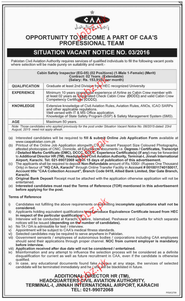 Cabin Safety Inspectors Job in Pakistan Civil Aviation Autho