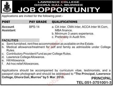 Account Assistants Job in Lawerance Ghora Gali