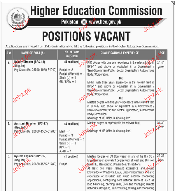 Deputy Directors Assistant Director Job in HEC YEAR Jobs Pakistan – Assistant Director Job Description