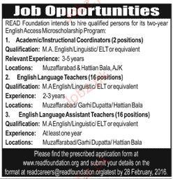 Coordinators, English Language Teachers Wanted