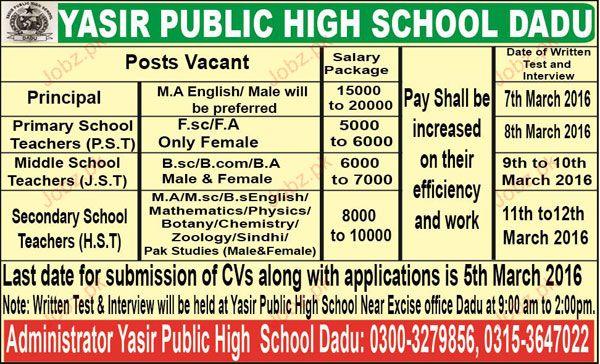 Principal, Primary Teachers Job Opportunity