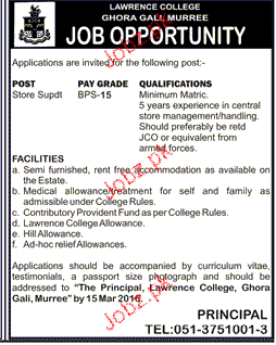 Store Superintendent Job in Lawerance College
