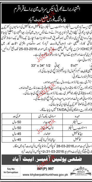 Recruitment of Sub Inspectors, Head Constables  in KPK Polic