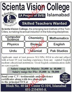 Teachers Job in Scienta Vision College