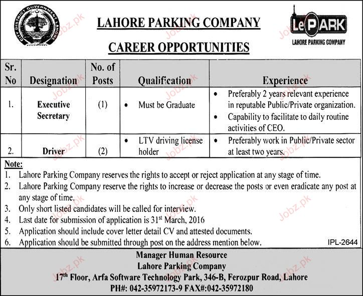 Executive Secretary and Drivers Job Opportunity