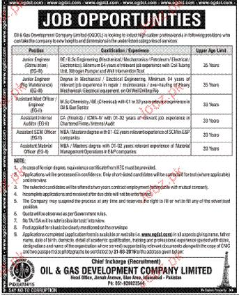 Mechanical  Engineers, Material Officers job in OGDCL