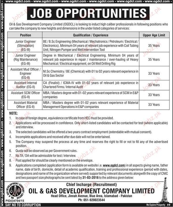 Junior Engineers, Assistant Mud Officer Job in OGDCL