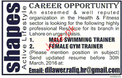Swimming Trainers And Gym Trainers Job Opportunity 2018 Jobs Pakistan