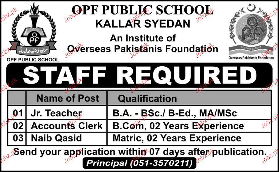 Junior Teachers, Accounts Clerks and Naib Qasid Job in OPF