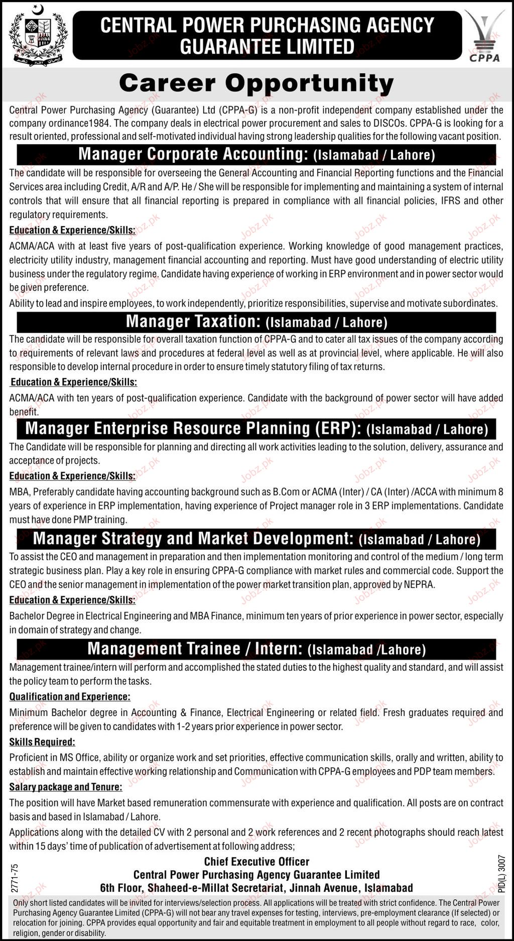 Manager Corporate, Manager Taxation Wanted