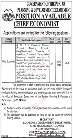Chief Economists Job in Planning & Development Department