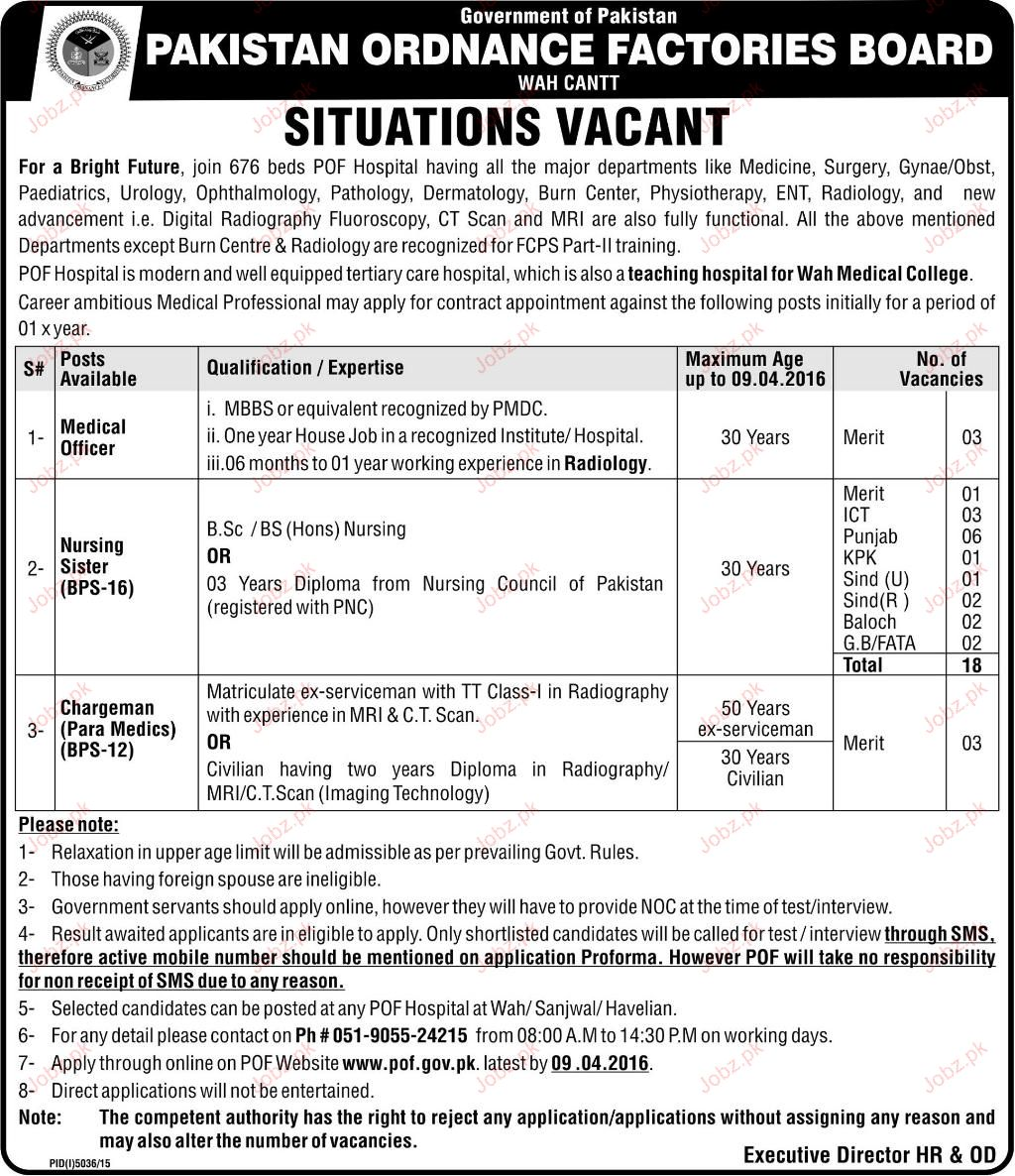 Medical Officer Nursing sisters Job in POF 2017 Jobs Pakistan Jobzpk – Medical Officer Job Description