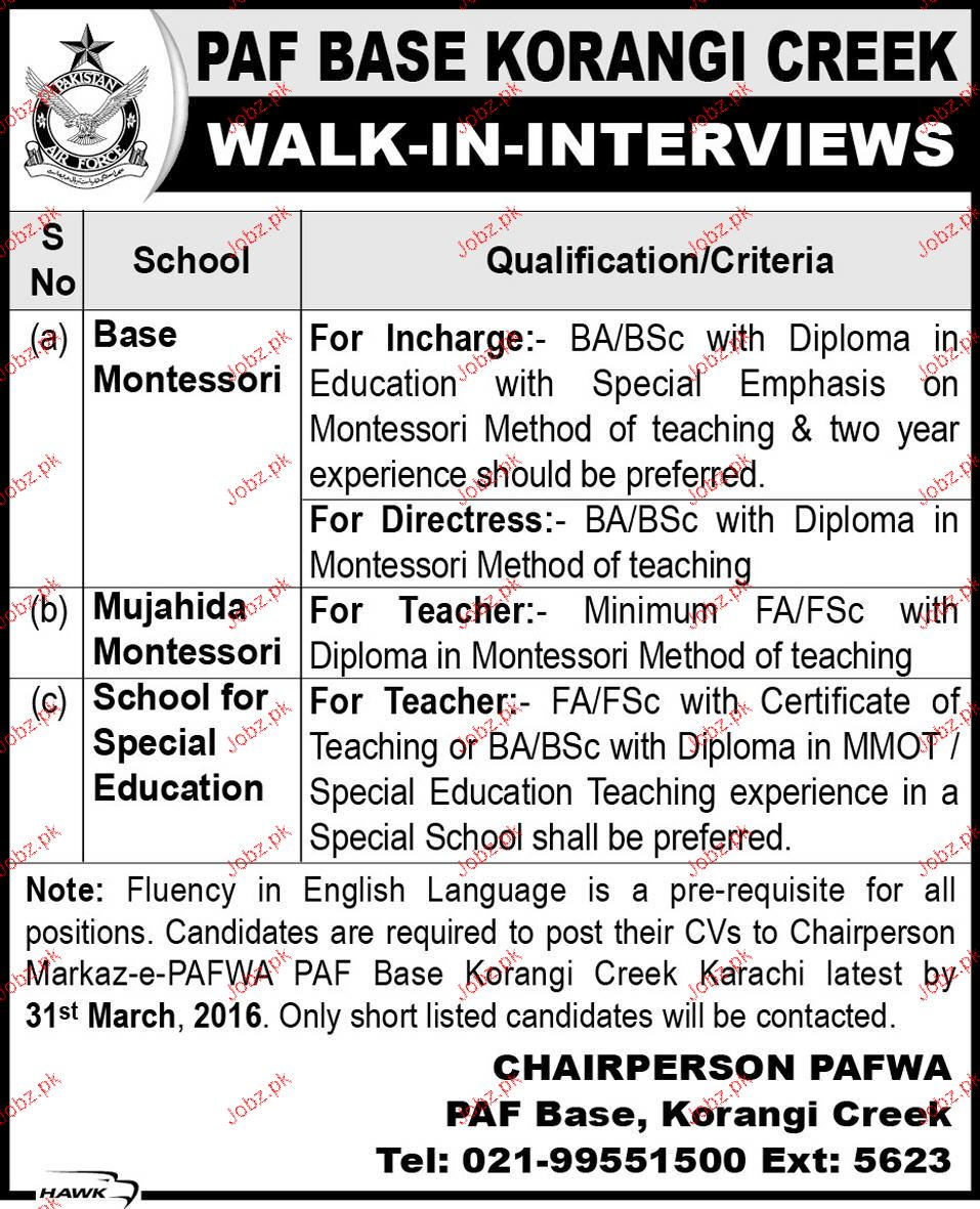 Incharge Base Montessori, Directress Job in PAF