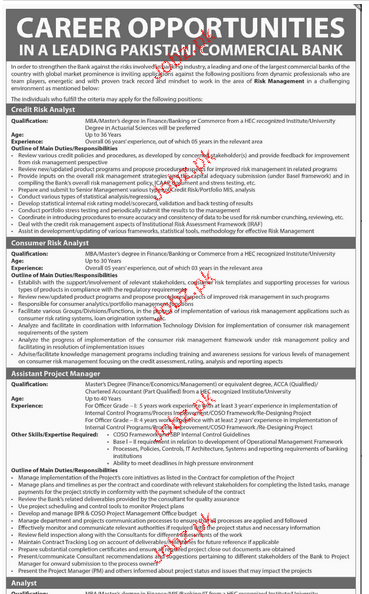Credit Risk Analyst, Consumer Risk Analyst Wanted 2018 Jobs Pakistan