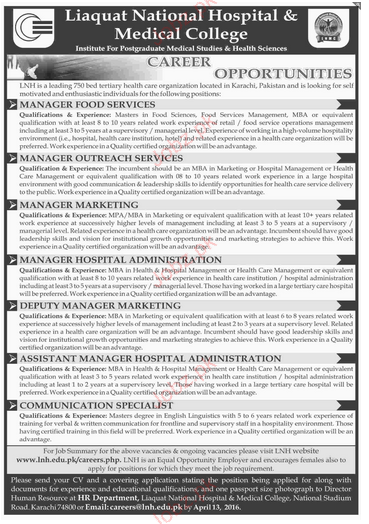 Manager Food Services, Manager Marketing Job Opportunity