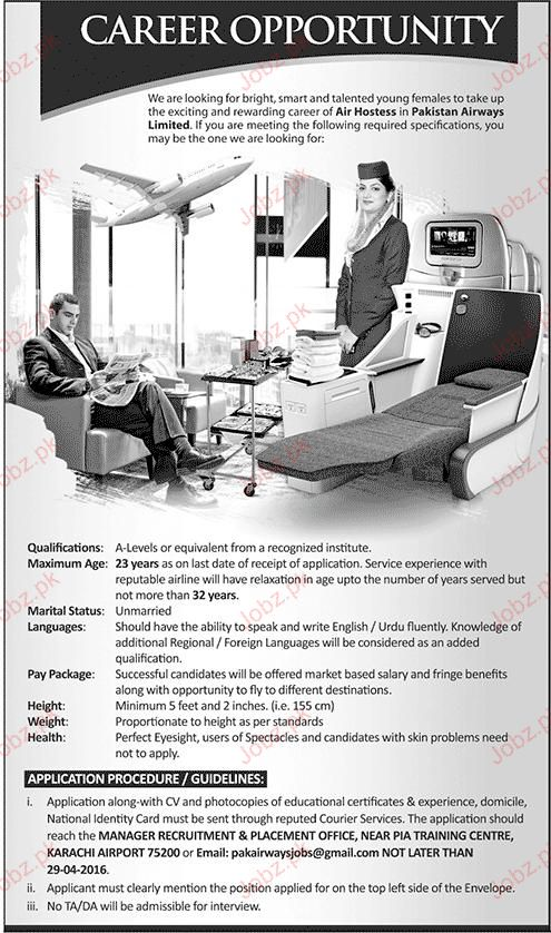 Air Hostess Job in Pakistan Airways Limited