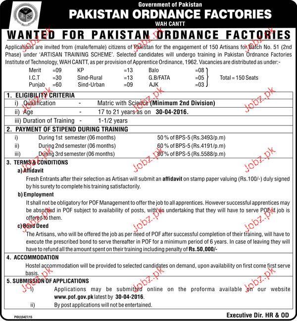 Artisans Job in Pakistan Ordinance Factories