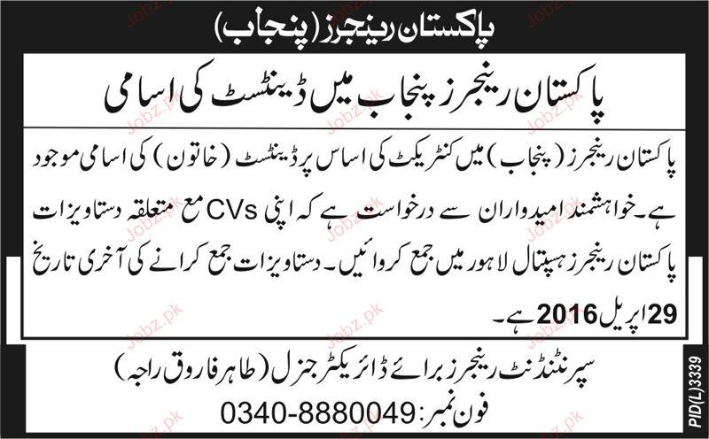 Dentists Job in Pakistan Ranger Punjab