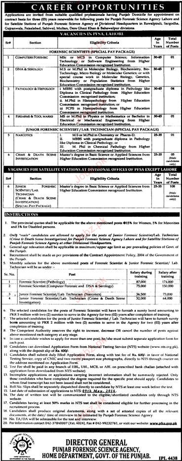 Nts New Jobs Open In Punjab Forensic Science Agency Nts
