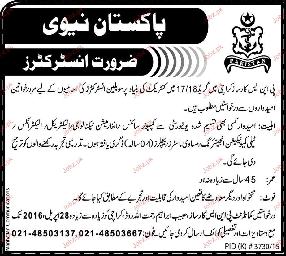 Civilian Instructors Job in Pakistan Navy