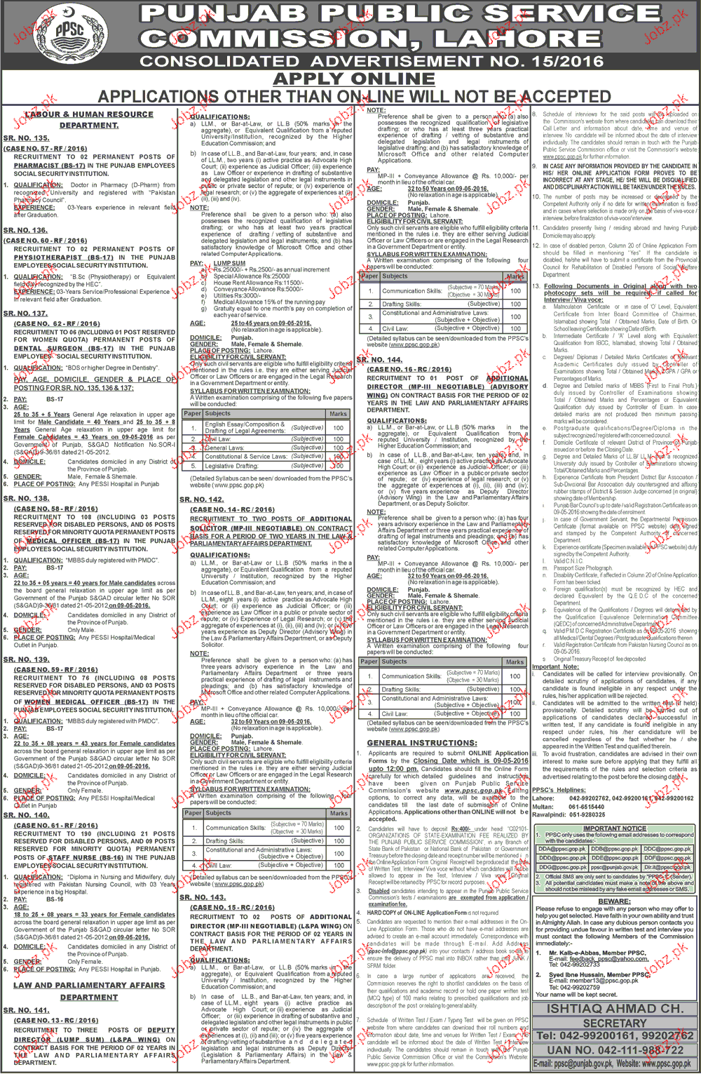 Pharmacists, Physiotherapists, Dental Surgeon Job in PPSC