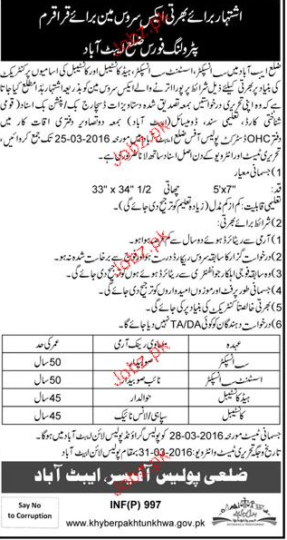 Sub Inspector, Assistant Sub Inspectors Job in KPK Police