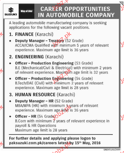 deputy manager production engineers job opportunity 2017