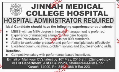Hospital Administrators Job Opportunity