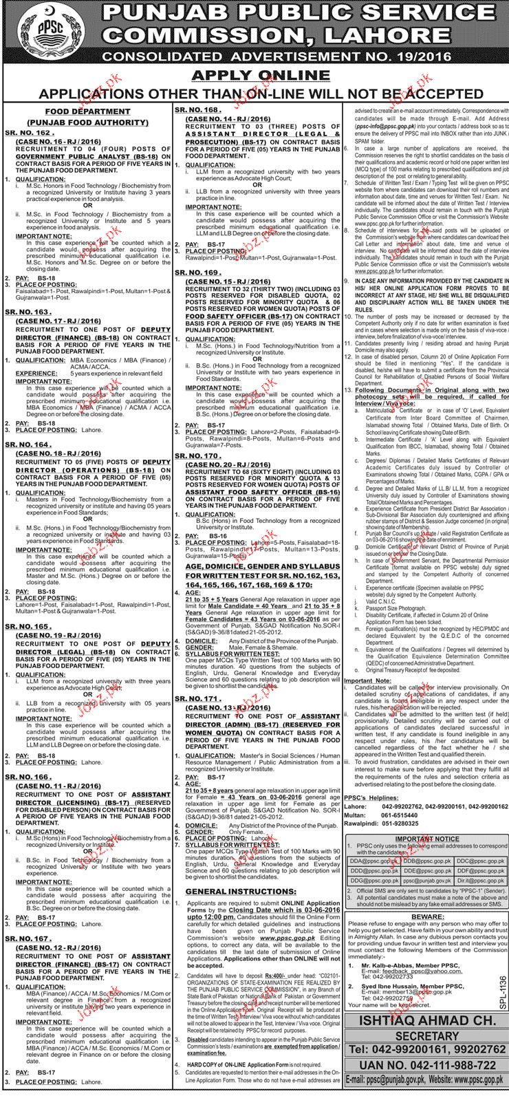 Assistant Director Legal, Food Safety Officers Job In PPSC