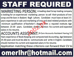 Account Assistants and Marketing Persons Job Opportunity
