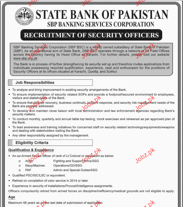 Recruitment of Security Officer Job in State Bank of Pakista 2018 ...