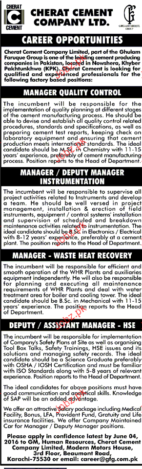 Manager Quality Control,  Manager Instrument Job Opportunity