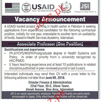 Associate Professors Job in USAID in Pakistan