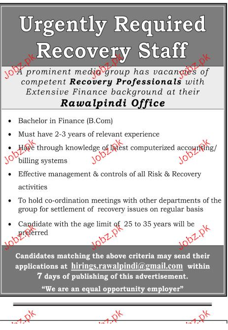 Recovery Professionals Job Opportunity