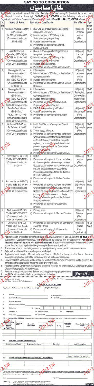 Assistant Private Secretary, Stenographers Job Opportunity