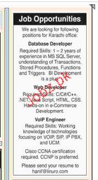 Database Developers, web Developers Job Opportunity