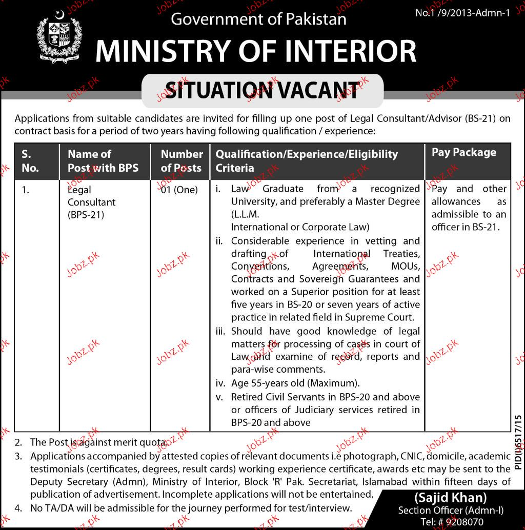 Charming Legal Consultants Job In Ministry Of Interior