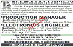 Electronic Engineers and Production Manager Job Opportunity