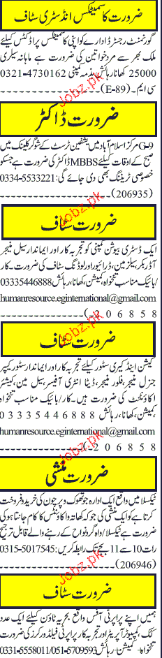 Doctors, Sales Manager, Order Booker, Store Keepers Wanted
