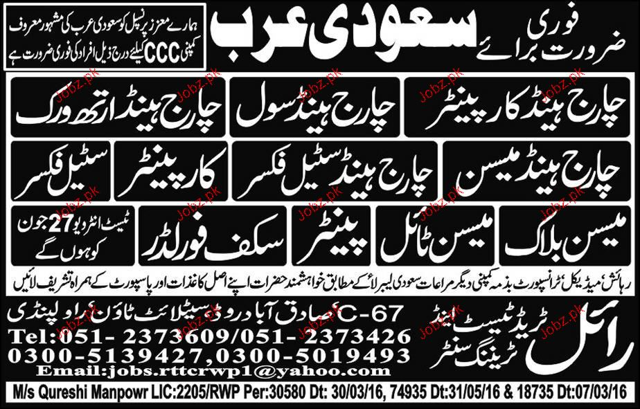 Charge Hand Carpenters, Charge Hand Civil  Job Opportunity