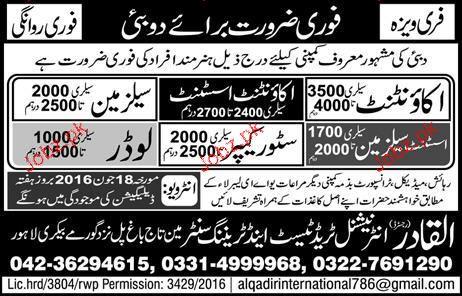 Accountant, Account Assistants, Salesmen Job Opportunity