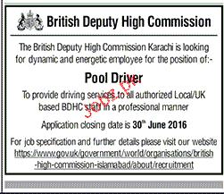 Pool Drivers Job in British Deputy high Commission 2019 Job