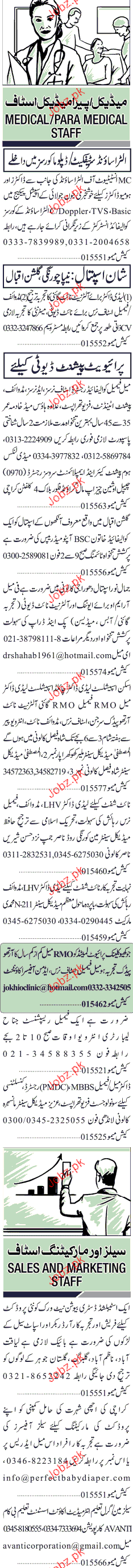 Sunday Jang Classified Doctor and Paramedical Staff Wanted 2019 Job