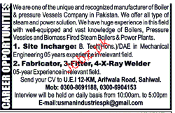 Site Incharge and Fabricators Job Opportunity