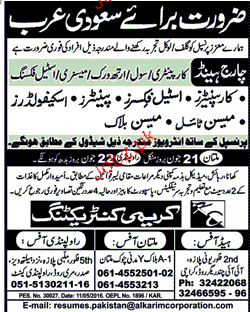 Charge Hand, Carpenters, Mason, Scaffolders Job Opportunity